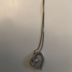 Jewelry - Ladies diamond heart sterling silver necklace